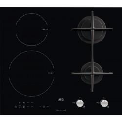 Piano cottura AEG HD634170NB -Misto - Vetro Nero - 60cm - Griglie in ghisa